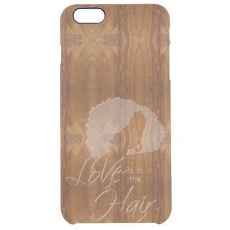 El amor está en la cera del pelo en la mirada de funda clear para iPhone 6 plus
