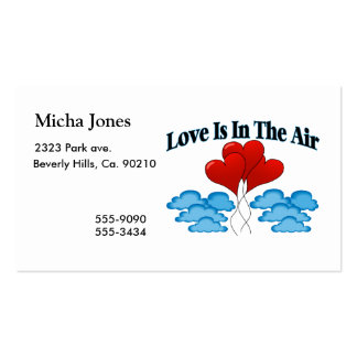 El amor está en los globos del corazón del aire tarjetas de visita