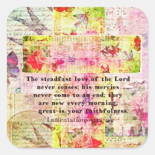 El amor firme del señor nunca cesa colcomanias cuadradases