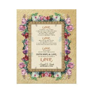 El amor floral del brocado del oro es el casarse p impresión en lienzo estirada