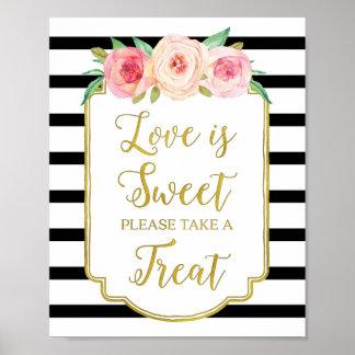 El amor floral rosado es rayas negras dulces del póster