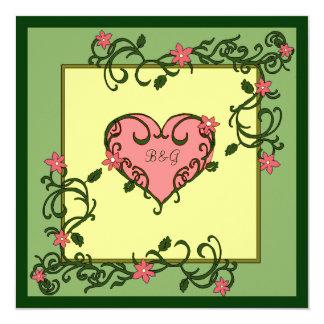 """El amor florece boda verde invitación 5.25"""" x 5.25"""""""