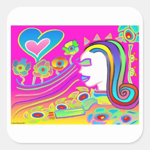 El amor florecerá: Espacio ideal Pegatina Cuadrada