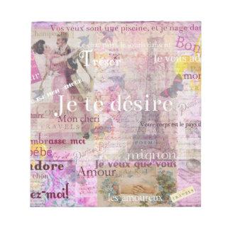 El amor francés romántico expresa el arte de París Bloc De Notas