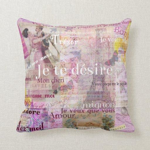 El amor francés romántico expresa el tema de París Almohadas