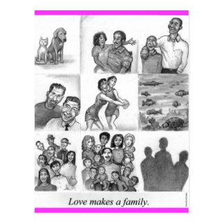 El amor hace a una familia postal