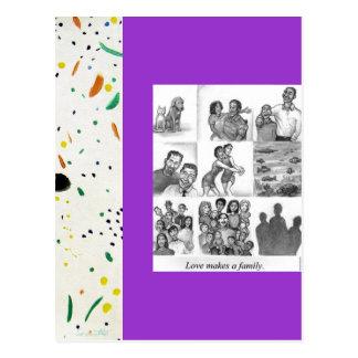 El amor hace a una familia postales