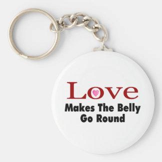 El amor hace que el Belly va alrededor Llaveros