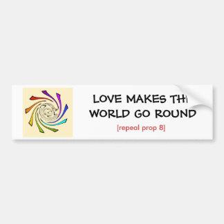 el amor hace que el mundo va alrededor de/el apoyo pegatina para auto