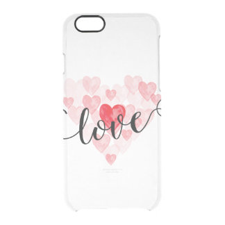 El amor iphone6 de los corazones de la acuarela funda clear para iPhone 6/6S