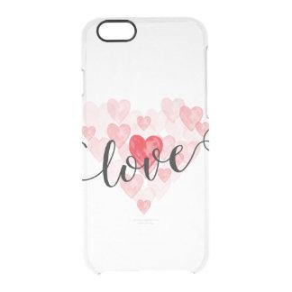 El amor iphone6 de los corazones de la acuarela funda clearly™ deflector para iPhone 6 de uncommon
