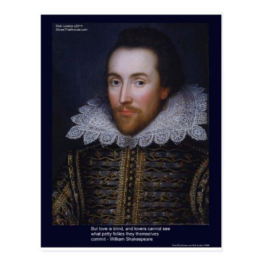 El amor/las persianas de Shakespeare cita en las t Postal