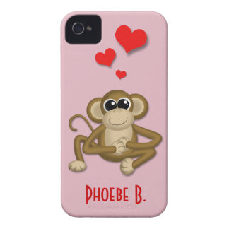 El amor lindo del mono personalizó la caja del iPh iPhone 4 Case-Mate Protector