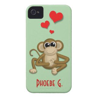 El amor lindo del mono personalizó la caja del iPh Case-Mate iPhone 4 Cárcasas