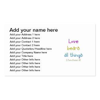 """El """"amor lleva todas las cosas """" tarjetas de visita"""
