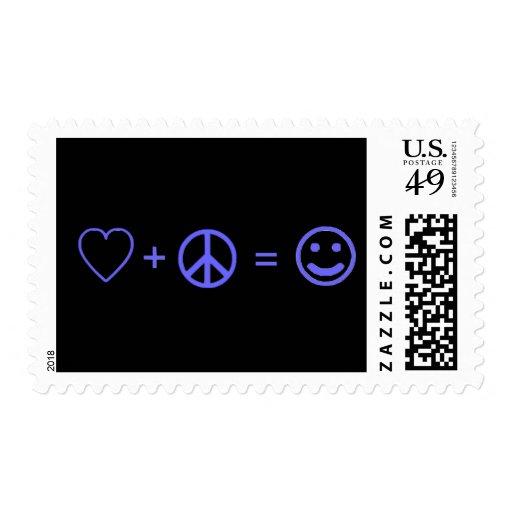 El amor más paz iguala felicidad estampilla