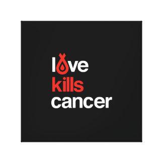 El amor mata al cáncer - ilustraciones de la lona impresión en lienzo estirada