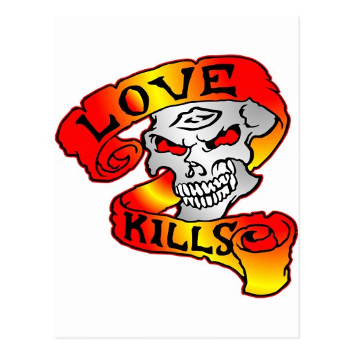 El amor mata al tatuaje del cráneo postal