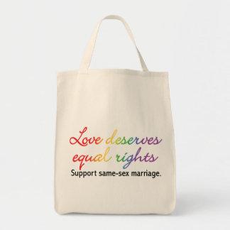 El amor merece las derechas iguales bolsa tela para la compra