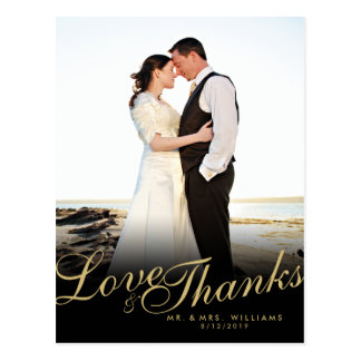 El amor moderno elegante del oro agradece la tarjetas postales
