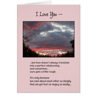 El amor no es siempre… relaciones perfectas tarjeta de felicitación