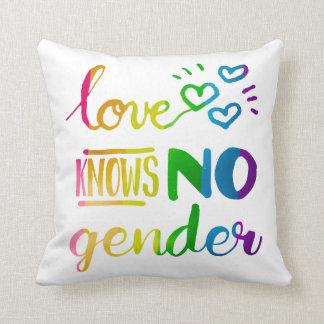 El amor no sabe ningún arco iris del orgullo del cojín decorativo