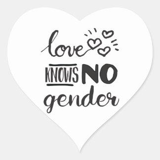 El amor no sabe ningún género LGBT Pegatina En Forma De Corazón