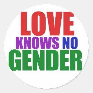El amor no sabe ningún género pegatina redonda