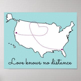El amor no sabe ninguna distancia póster