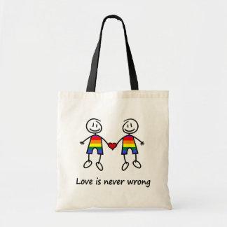 El amor nunca es incorrecto bolsa tela barata