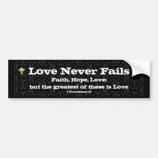 El amor nunca falla al pegatina auto cristiano pegatina para auto