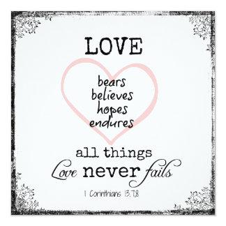 """El amor nunca falla el boda del verso de la biblia invitación 5.25"""" x 5.25"""""""