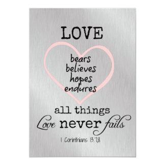 """El amor nunca falla el boda del verso de la biblia invitación 5"""" x 7"""""""