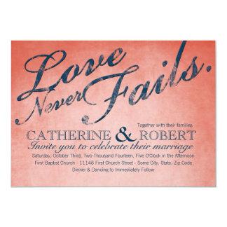 """El amor nunca falla el boda rústico invitación 5"""" x 7"""""""