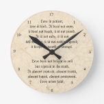 El amor nunca falla el vintage cristiano veteado relojes de pared