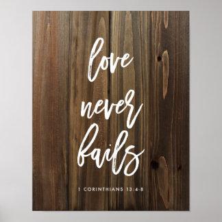 El amor nunca falla en el falso poster de madera