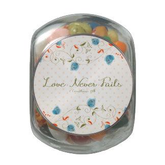 El amor nunca falla jarrones de cristal