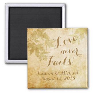 El amor nunca falla la naturaleza imán cuadrado