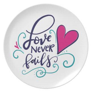 El amor nunca falla plato de cena