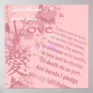 El amor nunca falla votos de boda del collage poster