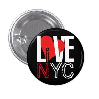 El amor NYC vive en negro rojo del botón de NYC Pin Redondo De 1 Pulgada
