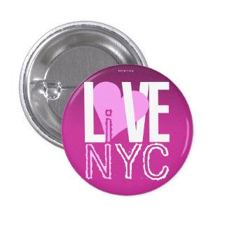 El amor NYC vive en rosa de botón de NYC Pin Redondo De 1 Pulgada