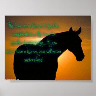 El amor para un cartel del caballo póster