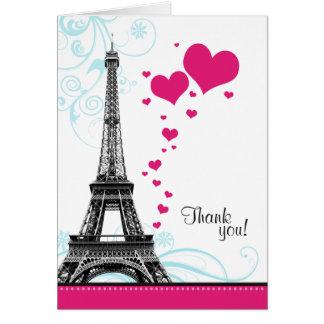 El amor parisiense de la torre Eiffel del Flourish Tarjeta Pequeña