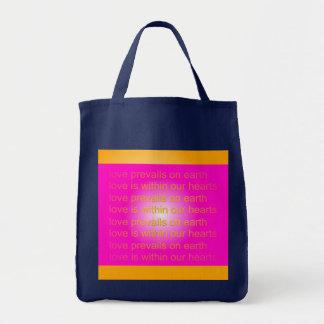 el amor prevalece bolso bolsa tela para la compra
