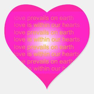 el amor prevalece los pegatinas pegatina en forma de corazón