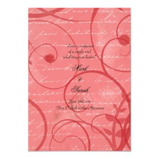 """El amor prospera programa rosado del boda de la invitación 5"""" x 7"""""""