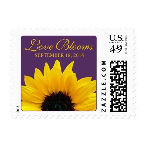 El amor púrpura del girasol amarillo florece boda envio