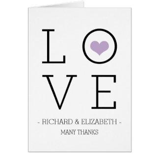 El amor púrpura simple le agradece las tarjetas