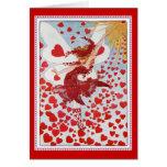 El amor que envía de hadas y los corazones de la tarjeta de felicitación